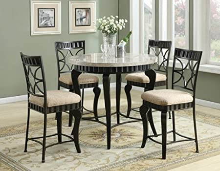 5 pc Lorencia collection round white marble top counter height dining table set with metal base