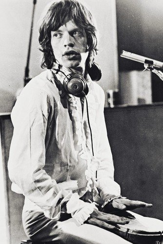 Mick Jagger 24X36 Poster Seated In Recording Studio 1969 Headphones Around Neck