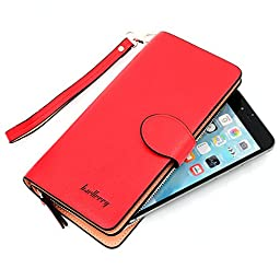 Glamdaisy Women\'s Leather Wallet Zipper Clutch Wallets with Wrist Strap for iphone 6s Plus, Samsung S7 (Red)