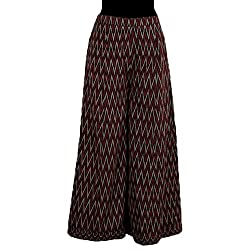 Black-Burgundy Handwoven Ikkat Cotton Plazzo (with Cotton Lining)