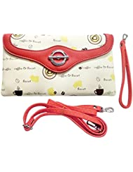 Shopoholics Stylish Printed Wallet / Sling Bag / Handbag For Gals/Womens, With Detachable Straps (Offwhite With...