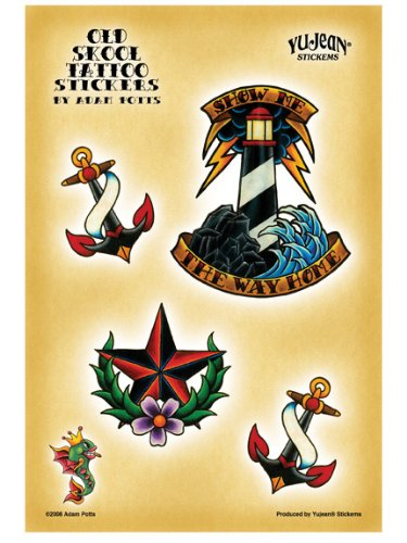 Adam Potts - Nautical Old Skool Tattoo Classic Anchors etiket Sticker Decal - 5.25&quot; x 7.5&quot; - Weather Resistant, Long Lasting for Any Surface