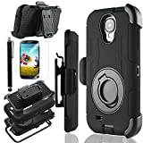 Galaxy S4 Case, S4 Case - ULAK Shockproof Rugged Hybrid Samsung Galaxy S4 Case with Belt Clip Holster Kickstand + Screen Protector + Stylus (Rugged-Black/Black)