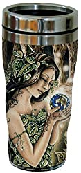 Tree-Free Greetings 77042 The Green Fairie Collectible Art Sip N Go Travel Tumbler, 16-Ounce, Stainless Steel, Multicolored