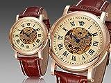 BINZI 手巻き腕時計 両面スケルト スタンダード ファッション 合成皮革 OY-1411 レディース