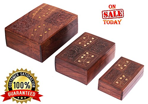 PREMIUM QUALITY Pack of 3 Wood Boxes with Mughal Inspired Brass Work - Large Handmade Jewelry Box / Decorative Treasure Chest / Keepsake Box from India - Antique Look Multipurpose Wood Boxes with lid