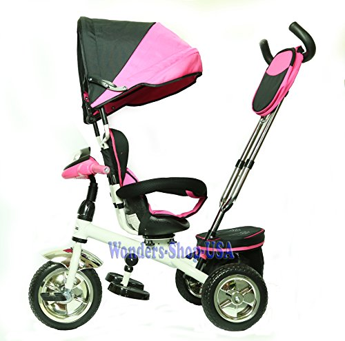 New-3-in-1-Trike-Kid-Tricycle-for-Toddler-with-Adjustable-Seat-Stroller-Ride-On-with-Canopy-Shade-and-LED-Lights-and-Sound-PINK-Color