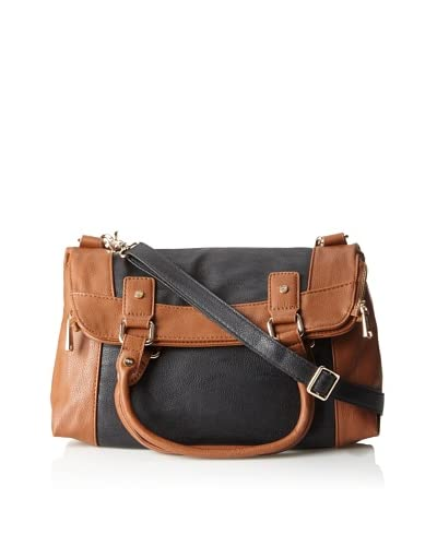 Co-Lab By Christopher Kon Women's Two-Tone Foldover Tote, Black/Cognac, One Size As You See