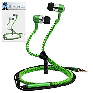 Green Premium 3.5mm Aluminium ZIPPER In Ear Stereo Wired Headset Hands Free Headphones with Built in Mic Microphone and On Off Button For MicroMax X099