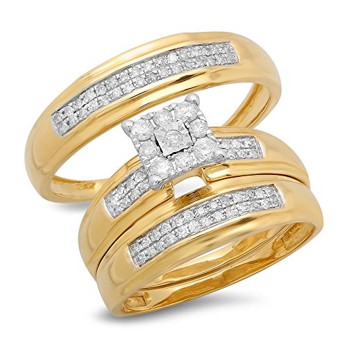 0.34 Carat (Ctw) 10K Yellow Gold Round White Diamond Men'S & Women'S Engagement Trio Bridal Set 1/3 Ct
