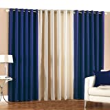 PINDIA 3 PC COMBO Faux Silk Eyelet Door Window Curtain, Polyester Plain Ringtop - 7ft Royal Blue2 Cream1