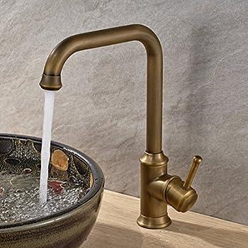 Vintage Deck Mount Single Hanle Control Single Hole Mixer Taps Swivel Lavatory Basin Taps Basic Style Antique Brass Tall Spout Vessel Bathroom Faucet