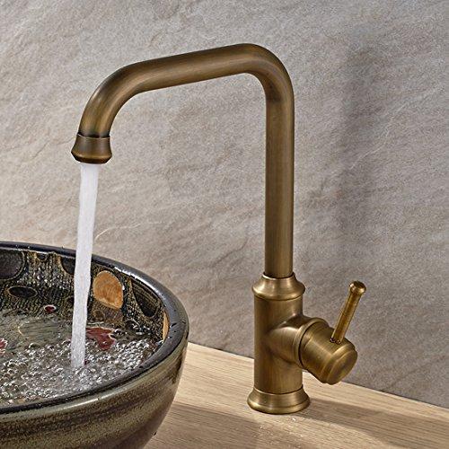 Vintage Deck Mount Single Hanle Control Single Hole Mixer Taps Swivel Lavatory Basin Taps Basic Style Antique Brass Tall Spout Vessel Bathroom Faucet 2