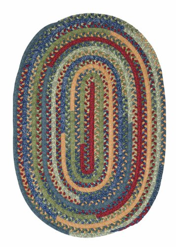 Braided Fabric Cotton Rug 6ft. x 6ft. Round Red/Green Mix Colorful Carpet