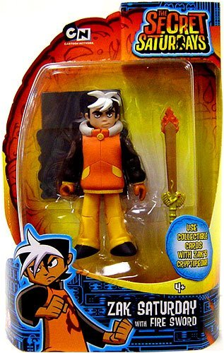 The Secret Saturdays Action Figure Zak Saturday with Fire Sword