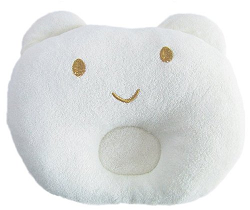Hot Newborn Baby Boy Girl Anti-Roll Pillow Flat Head Sleeping Positioner Bear ,White