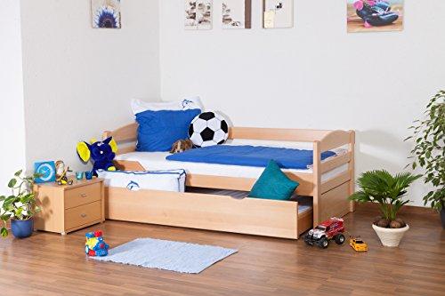 """Lit pour enfants/ ados """"Easy Sleep"""" K1/h/savec 2emeplace de couchage et 2 panneaux de masquage, 90 x 200 cm hêtre naturel massif"""