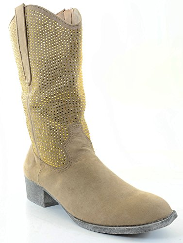 Rhinestoned Western Closed Toe Cowboy Boots Mid Calf Low Heel double buckle cross straps mid calf boots