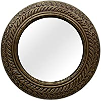 Indune's Handcrafted Craved Brass Wall Decor Mirror Frame - Round