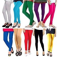 M.G.R Women's Cotton Lycra Churidar Leggings Combo - (Pack of 10 Pink ,Blue ,Green ,Red ,Black ,Yellow ,Beige ,Purple ,Sky Blue ,White) - Free Size