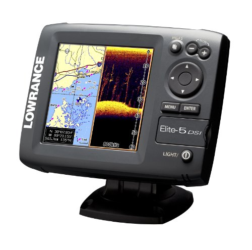 Lowrance 000-10236-001 Elite-5 DSI DownScan Imaging ChartplotterFishfinder with 5-Inch Color LCD and Basemap