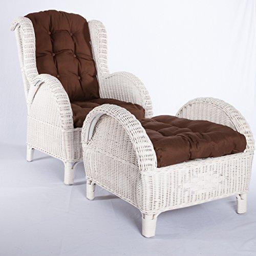 Rattan-Sessel-Ohren-Sessel-Wei-Relax-Sessel-Fernsesessel-Hocker-Kissen