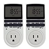 ETvalley Timer Switch 24h/7days Programmable Digital Programmable Timer Smart Socket Plug-in Switch Energy-Saving Outlet with 3-Prong Outlet for Lights and Appliances, Pack of 2, White