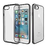 iPhone 7 Plus ケース ROCK 正規品 耐衝撃 カバー ストラップホール付き フラッシュガード機能 四角とレンズ保護 iPhone7Plusケース スマホケース クリアタイプ TPU素材 薄型 軽量 (ブラック)