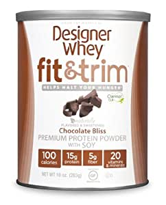 Designer Protein Fit and Trim Premium Protein Powder with Soy, Chocolate Bliss, 10 Ounce