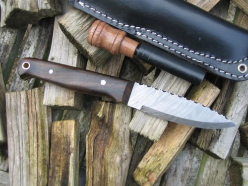 SALE! Craftsman made Damascus Bushcraft knife with firesteel - Walnut handle - leaping salmon filework! The ultimate camping and bushcraft tool!