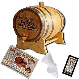 Engraved American Oak Aging Barrel - Design 038: Trucker Dad\'s Mancave (2 Liter)