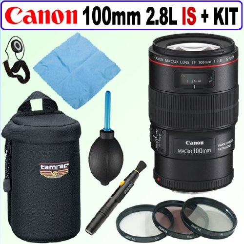 Canon EF 100mm f/2.8L IS USM 1-to-1 Macro Lens + Deluxe Accessory Kit