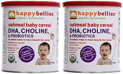 Happy Bellies Baby Cereal Oatmeal, 7 Ounce (Pack of 2) - 1