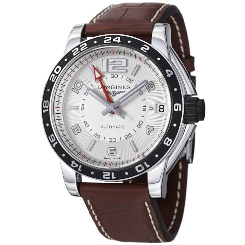 Longines Men's L36684763 Admiral Brown Leather Strap Watch