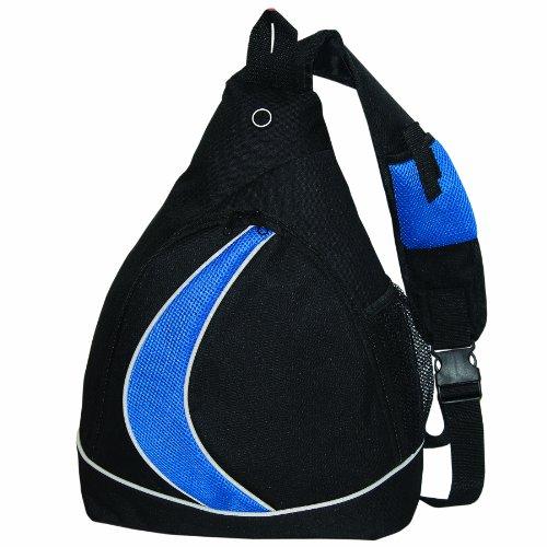 Bags For Lesstm Sling Backpack Knapsack, Black With Royal Blue Mesh