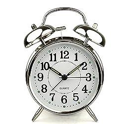 HITO™ 4 Silent Quartz Analog Twin Bell Alarm Clock with Nightlight and Loud Alarm (NO16)