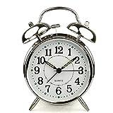 "HITO™ 4"" Silent Quartz Analog Twin Bell Alarm Clock with Nightlight and Loud Alarm (NO16)"