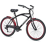 26 Inch Kent Bicycles 7 Speed Aluminum Frame Cruiser Bike for Men, Black