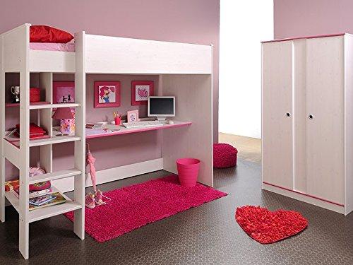 Kinderzimmer Snoopy 4, Hochbett + Schrank 2-türig, Kiefer-Nb weiß, Kinderbett online bestellen
