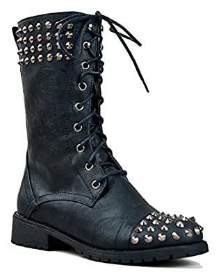 Amazing New Womens FA33 Black Studded Spike Mid Calf Military Combat Boots Sz