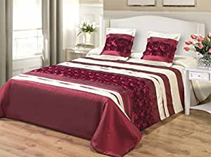 170 x 210 bordeaux fonc bordeaux rouge cr me couvre lit jet de lit avec taies d 39 oreiller en. Black Bedroom Furniture Sets. Home Design Ideas