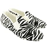 Womens Kung-Fu Flossy Mungia Slip On Zebra Print Summer Espadrille Shoes - White - 3