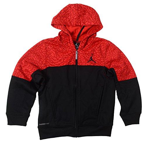 Nike Big Boys Jordan Therma-Fit Full Zip Hoodie (Large, Black / Red)
