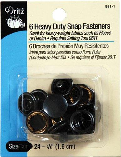 Buy Cheap Dritz Heavy Duty Snap Fasteners - Black - Size 24 - 5/8 inch - 6 Count