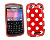 Kit Me Out UK IMD TPU Gel Case + Car Charger + Screen Protector with MicroFibre Cleaning Cloth for BlackBerry Curve 9350 / 9360 / 9370 3G - Red, White Polka Dots