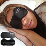 PrimeEffects Sweet Dreams Sleep Mask with Ear Plugs - Super Lightweight Soft & Comfortable Eye Mask Blocks Light Fully - Helps Men Women & Kids Sleep Better - Wide Strap with Velcro and Earplugs Holder - Manufacturer Satisfaction Guarantee
