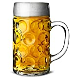 German Beer Stein Glass 2 Pint - Pack of 6 Classic Beer Tankards, Beer Mugs, Beer Steins 2 Pint Glass Beer Tankards