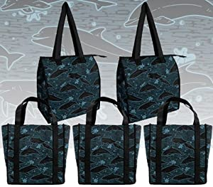 Dolphins Shopping Bags Reusable Grocery Bags 5 Pc Set Dolphin print SET 5 Pieces 2 Insulated Zippered Bags and 3 Sturdy Shopping Bags in Designer Prints