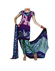 Aksana Collections Purple And Blue Printed Cotton Dress Material