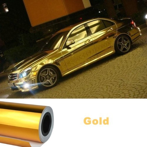 "NuoYa001 Bubbles Free 12""x60"" Car Mirror Chrome Gold Metallic Sticker Film Sheet Wrap"